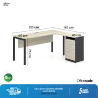 Meja Kerja Kantor I Staff I Meja Samping + laci 3 susun - 120x140x75cm