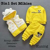 FMJ 87 Setelan Baju 3in1 Mickey Set Yellow Anak Perempuan Wanita Cewek