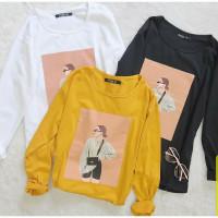 Kaos Tumblr tee Tara / Baju Wanita lucu Lengan Panjang katun - Mustard, Allsize Panjang