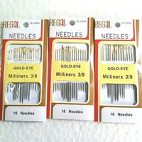 Jarum jahit tangan isi set 16 Regal Gold Eye Milliners 3/9 rumahan