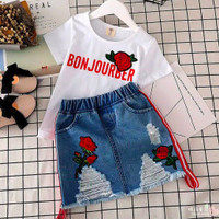 Setelan Baju Anak Perempuan Rok Jeans Soft BORDIR ROSES Import - Bonjourber Rose, 140