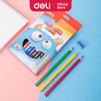 DELI Color Kids Jumbo Colored Pencil 12C [EC00600] - Pensil warna anak