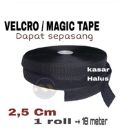 Velcro Magic Tape Perekat 2,5cm - Hitam / Hook & Loop (Jual Per meter) - 2cm Hitam
