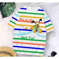T-Shirt GOOF Garis XL / Baju Kaos Wanita XL Oversized Katun Combed 30s