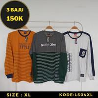 Kaos Lengan Panjang Pria - Baju Distro Trend Streetwear Katun Size XL