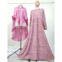 Baju Gamis set khimar Misbee baju gamis murah Baby Pink
