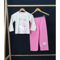 Setelan Baju Tidur Santai Anak Perempuan Motif H Kitty Pita - Size 4
