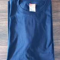 baju kaos t shirt L biru dongker lengan pendek polos o neck pria wanit