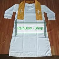 Jubah/Baju Baptis Khusus Pendeta Bahan satin Putih + Selendang Gold