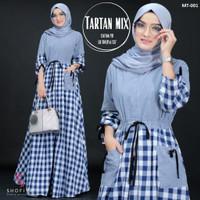 Baju Gamis Wanita Muslim Terbaru Baju Tartan Mix Maxi Motif Kotak - Blue