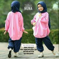 baju muslim setelan celana anak perempuan nuna usia 6 7 8 tahun
