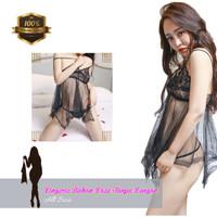 Lingerie Sexy Baju Tidur Lingerie Seksi Bahan Lace Halus Tanpa Lengan - Hitam