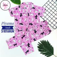 Baju Tidur Anak Perempuan Motif Terbaru/Piyama Anak Perempuan 3-10tahu - S(3-4tahun), kuda poni pink
