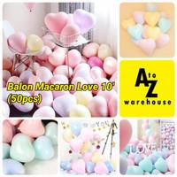 Set Balon Latex Love Macaron Balon Pastel Love Model Hati 50 Pcs