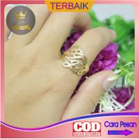 cincin nama custom lapis emas wanita titanium asli anti karat murah