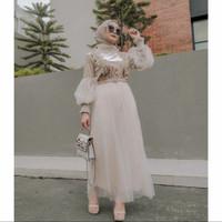 gamis tricia velvet import~gamis kekinian gamis wanita hijab - cream, L