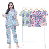 setelan wanita kekinian / baju tidur wanita / batik kencana ungu
