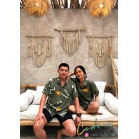 CEDRIC Kemeja Casual Pria Wanita OLIVE BEACH Hawaiian Shirt