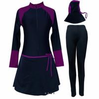 pakaian renang muslimah jumbo material spandex licra - hitam ungu, XXXL