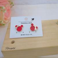 Anting Tusuk Titanium Wanita Mickey Minnie Mouse Rosegold Merah