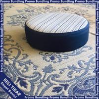 Paket Hemat Tikar Bunga Persegi Biru & Bantal Igusa lingkaran Hagihara