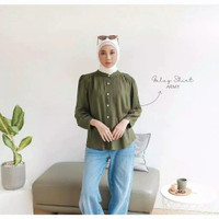 Baju Atasan Wanita Kemeja Blouse Stylish - Army