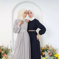 Gamis tweeny aplikasi sabuk mutiara daily dress - Dusty