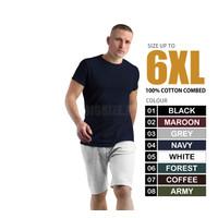 Kaos Polos Pria Dewasa XXXXL / Kaos Oblong Tangan Pendek Pria 4XL - Navy, 4XL
