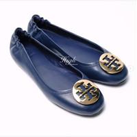 TB Minnie Travel Ballerina Leather - Ink Navy GHW 100% Authentic - 36 / 23cm