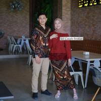 Baju Couple Batik CP Sarimbit Pasangan Brukat Kebaya Pesta Kondangan - Merah, M