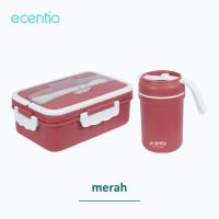 ecentio Set kotak makan siang portabel jerami gandum 1000ml - Merah