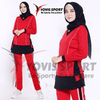 Setelan Baju Training wanita Jumbo / kaos senam plat / Yovis sport