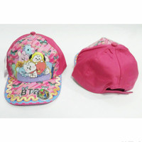 Topi anak karakter printing BTS BT21 kartun korea army kpop kids pink