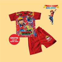 Baju Setelan Anak Boboiboy Galaxy Kaos Kostum Gratis Sablon Nama Merah