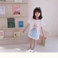 BF04 Baju Dress Mini Princess Elsa Mermaid Snow White Frozen Terusan - Elsa, 100