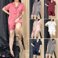 Satin Premium Piyama Hotpant Celana Pendek Dewasa - Polos