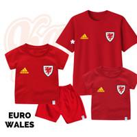 Setelan Baju Kaos Sepak Bola Euro Timnas Wales Bayi Sampai Remaja