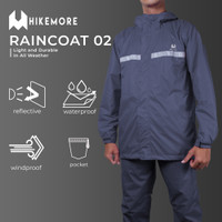 Jas Hujan Pria Wanita Setelan Baju Celana Raincoat Hikemore 02 - Random Warna, M