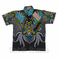 Hem Batik Anak Kombinasi Baju Kemeja Cowok Pria Laki Katun Hijau Murah