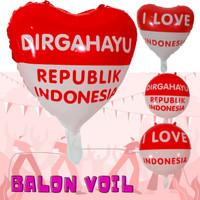 Balon FOIL Hiasan Dekorasi 17an 17 Agustus HUT Dirgahayu RI Bulat Love