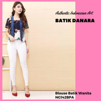 Blouse batik katun stretch kutu baru motif mix NG142 - Navy