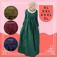 Dress Wanita Jumbo Haura Gamis Terbaru Murah Big Size XL XXL XXXL 5L - Army