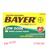Bayer Aspirin Low Dose Baby Aspirin 400 Tabs Pereda Nyeri