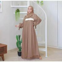 Baju wanita Maxy Ivora Baju Gamis Kombi Tulle Fashion Muslimah - milo