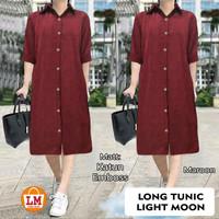 LM 19549 Baju Atasan Tunik Wanita Lengan Panjang LONG TUNIC MOON LIGHT - Maroon, XL