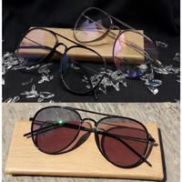 kacamata minus pria/wanita Aviator Ringan (paket+lensa photocromic) UV