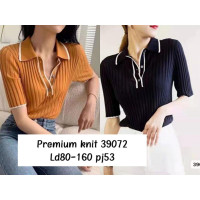 ONNIEFASHION Atasan wanita rajut import premium 39072 / Baju import - Hitam