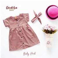 baju dress anak perempuan 1 2 3 4 5 tahun dress katun toyobo baby pink
