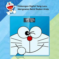timbangan badan digital kaca karakter Doraemon hello Kitty 26 x 26