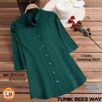 LM 19444-19450 Baju Atasan Blouse Wanita TUNIK BEES WAY Motif Polos - Hijau Botol, XXXL